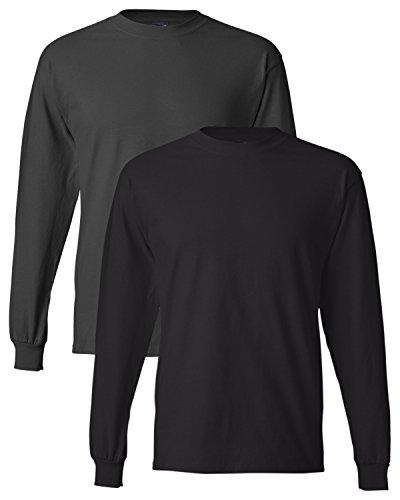 Hanes uomo long-sleeve beefy-t camicia (confezione da 2) 1 Smoke Grey / 1 Black