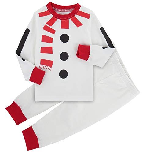 A&J Design Bambini Ragazzo Natale Babbo Pigiama Set di Vestiti (Pupazzo di Neve, 2 Anni)