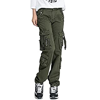 OCHENTA Women Workwear Uniform Combat Cargo 8 Pockets Security Trousers Army Green Lable 29-UK 8