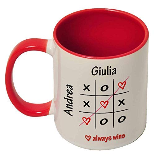 Tazza mug 11 oz con interno e manico colorati love always wins, tris dell'amore, personalizzata con i vostri nomi, idea regalo romantica per san valentino!