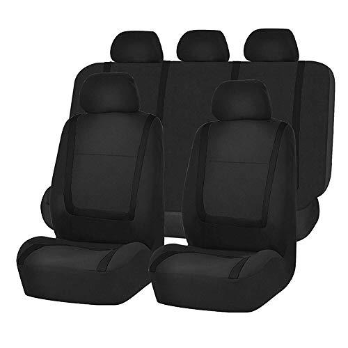 JH-shhbry Auto Sitzbezüge Set, Kompatibler Airbag Für Die Meisten Sitze Mit Hoher Rückenlehne Fahrzeug LKW SUV Limousinen, Black