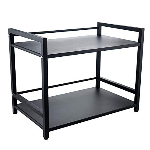 Edelstahl 2 Tier Mikrowelle Regal, Schwarz Stehen Küche Storage Shelf Organizer für Home Kitchen -