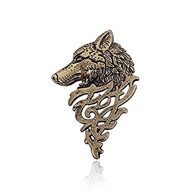 Retro Gold Silver Metal Wolf Pin Brooch