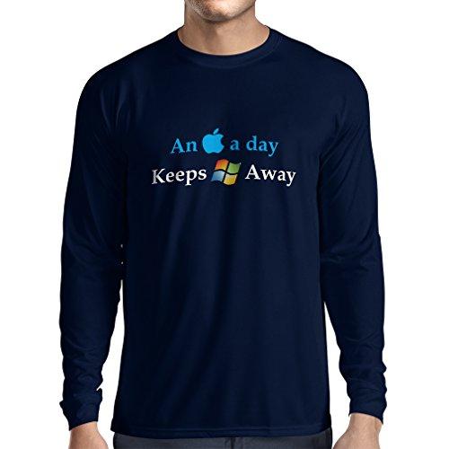 lepni.me Langarm Herren T Shirts EIN Apfel am Tag - Lustige Sprüche, große ungewöhnliche Geschenk-Ideen (X-Large Blau Mehrfarben)