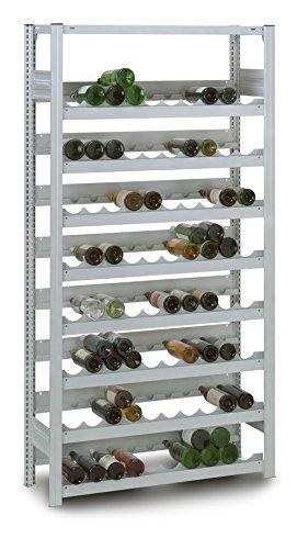 Profi Weinregal aus Metall für 152 Flaschen, 200x106x34 cm, Gastro | Industrie Flaschenregal - Grundregal verzinkt