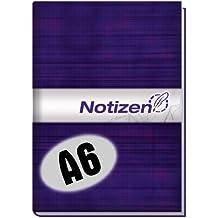 Chäff-Notizbuch (DIN A6 lila) kariert mit Inhaltsverzeichnis, Seitenzahlen, Register und Zetteln zum Heraustrennen