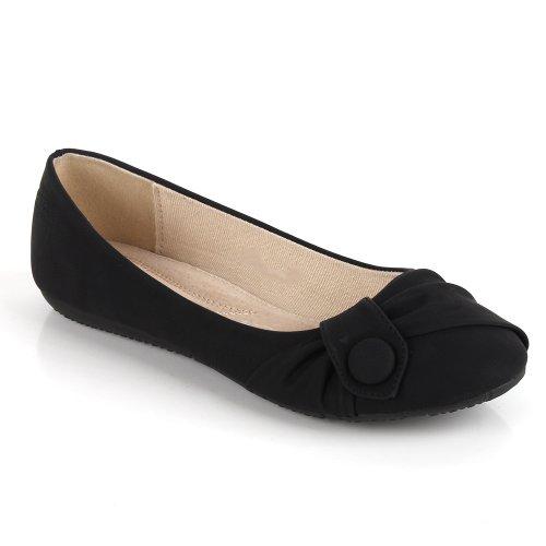 Damen Ballerinas Zierperlen Strass Flats Schuhe Lederoptik Schwarz Velours Knopf