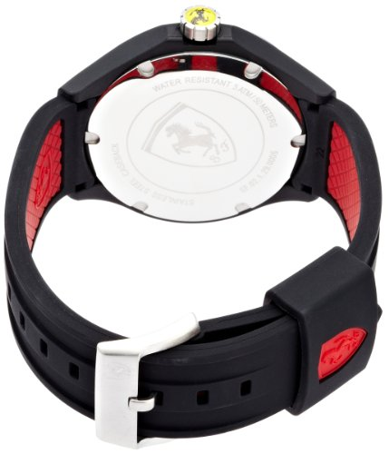 Ferrari Men's Scuderia Lap Time 44mm Black Silicone Band Plastic Case Quartz White Dial Watch 830013