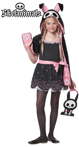 Skelanimals Hase Kleid Kinder Mädchen Halloween Fasching Karneval Kostüm 116-128