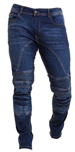 Qaswa Herren Motorradhose Jeans Motorrad Hose Motorradrüstung Schutzauskleidung Motorcycle Biker Pants-36W / 32L-Blue