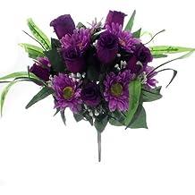 Grand bouquet de fleurs de 36 cm de luxe en soie artificielle roses et  gerberas violettes