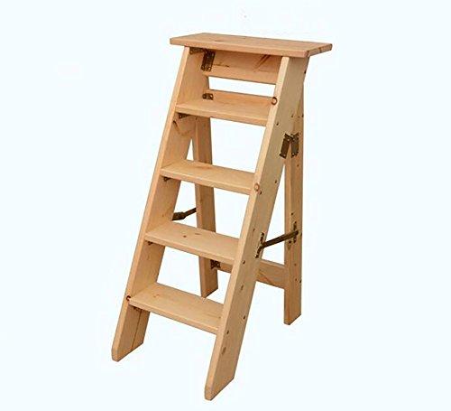 Sgabello per scale zcjb scaletta robusta e durevole scaletta in legno massello pieghevole scaletta in legno scala a cinque gradini scaletta in scala ridotta passo sgabello (colore : varnish)