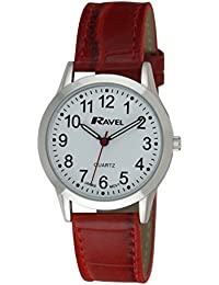 Ravel Ravel Men's Easy Read Fashion Watch. R0130.10.1 - Mouvement Analogique - Affichage Analogique - Bracelet Polyuréthane [Red] et Cadran blanc - Mixte