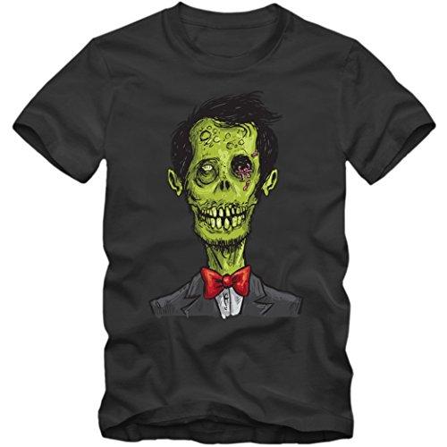 | Zombie | Süßes oder Saures | Kürbisse | Verkleiden | Herrenshirt, Farbe:Dunkelgrau (Dark Grey L190);Größe:XXL (Les Simpsons Halloween 1)