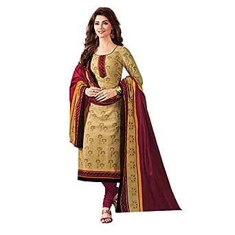 Divi Women's Cotton Dress Material (DIVIBLWEDM1022_Beige_N/Rnuma)