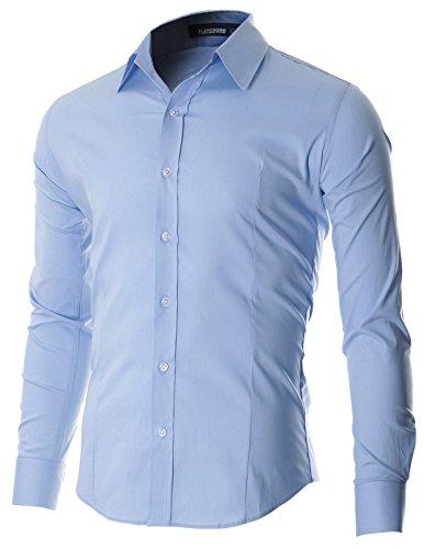 Flatseven camicia uomo slim fit casual con bottoni manica lunga (sh600) azzurro, l