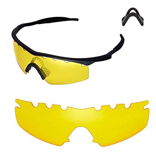 Walleva Entlüftete Ersatzlinsen oder Linsen mit schwarzem Nasenpolster für Oakley M Frame Strike Sonnenbrille - 20 Optionen (Gelb + Nasenpolster)