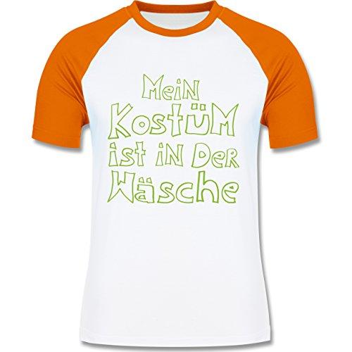 Karneval & Fasching - Mein Kostüm ist in der Wäsche - zweifarbiges Baseballshirt für Männer Weiß/Orange