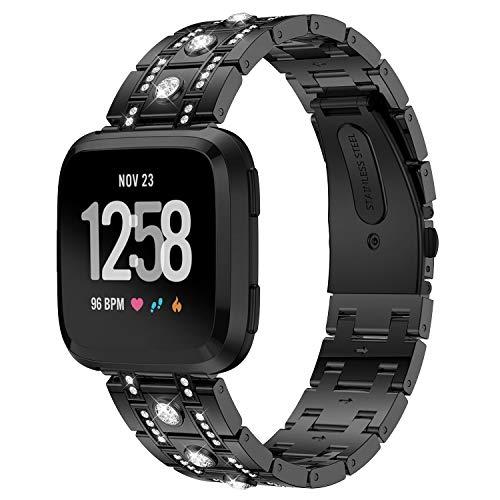 Für Fitbit Versa Armband, Purple Angel Fitbit Versa Ersatz Uhrenarmband Armbänder Zinklegierung Metall Band mit Glitzer Diamant Smart Watch Replacement Wrist Strap mit Metallschließe Bracelet für Fitbit Versa, Schwarz