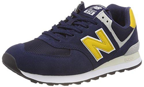 New Balance Herren 574v2 Sneaker, Blau (Pigment/Yellow Brass SMB), 44 EU