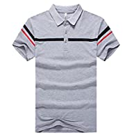 Tootlessly Mens Turndown Pure Color Button Stripe Pullover Blouses 1 L