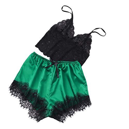 SSUPLYMY Reizvolle Frauen Lace Trim Camisole Pyjama Loungewear Set Sexy Spitze Nachtwäsche Seide Dessous Versuchung Erotische Babydoll Dessous Strapse Erotik Reizwäsche Negligee -