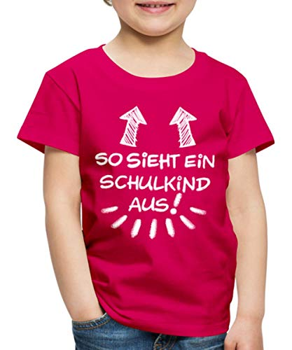 Spreadshirt Einschulung So Sieht EIN Schulkind Aus Kinder Premium T-Shirt, 134/140 (8 Jahre), Dunkles Pink (Einheitliche Mädchen Für T-shirt)