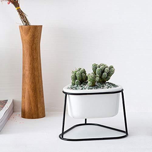 XHZJ Style Nordique Triangle Fer forgé Charnu Pot de Fleur en céramique Plante Cadre en Fer Ensemble Balcon Bureau Vert Plante Petit Pot de Fleur Planteur d'intérieur Jardinière Petits Objets