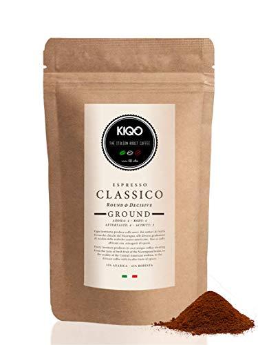 KIQO Classico 250g Espresso aus Italien in schonenden Kleinstchargen geröstet | säurearm | 35% Arabica & 65% Robusta Bohnen (250g - gemahlen)