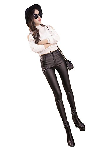 Ruth Wang Donne Inverno Caldo Pile Pu Cuoio Pantaloni Skinny Sexy Elastico Pantaloni Fuseaux Un Pulsante
