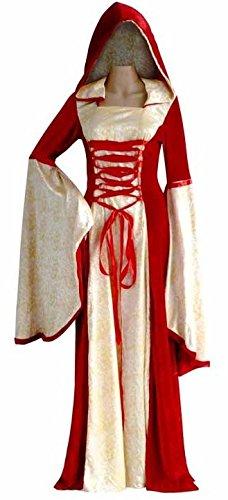 Damen Deluxe Rot Gold Lang Voll Länge Mit kapuze Mittelalterlich Renaissance Druide Kostüm Kleid Outfit UK - Kapuzen-renaissance-kleid