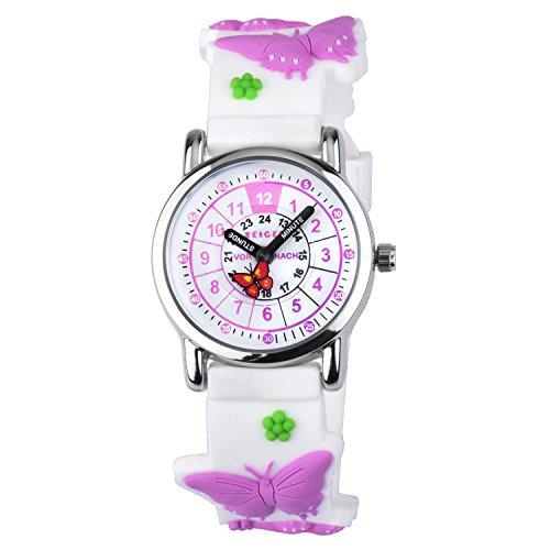 Zeiger Kinder Uhr Mädchen Lern Analog Quarz Silikon Armband Schmetterling Lila zum Uhrzeit Lesen KW111