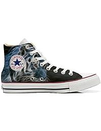Converse All Star Zapatos Personalizados Unisex (Producto Artesano) matizada Negro con Blanco del Tigre