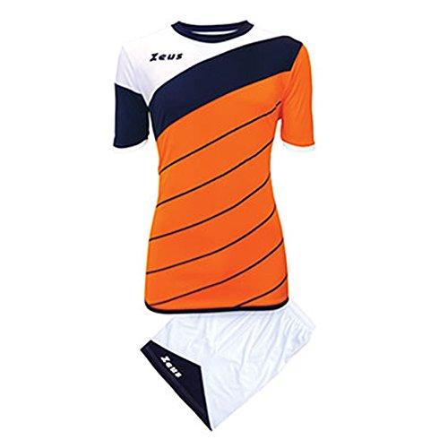 Kit Zeus Lybra Arancio-Blu-Bianco Uomo Completino Completo Calcio Calcetto Torneo Scuola Sport Training Volley Pegashop (XL)