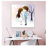 Selbst gemachte handgemachte Linie stickte Paarwandaufkleber, einfache romantische handgemachte...