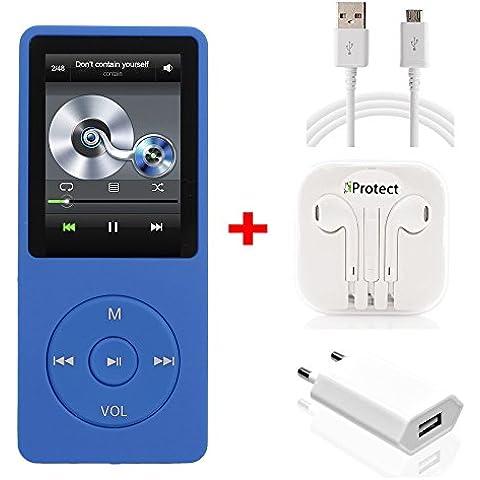 iProtect Reproductor de MP3 16GB con Auricolares Reproductor de Musica/Video 36 Horas de reproducción con Función de radio azul