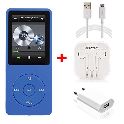 iProtect 16GB MP3-Player Set In-Ear Kopfhörer 70 Stunden Audiowiedergabe Musik-/Video Player Speicher bis zu 64GB erweiterbar mit Radio-Funktion und 16GB Micro SD-Karte in dunkelblau