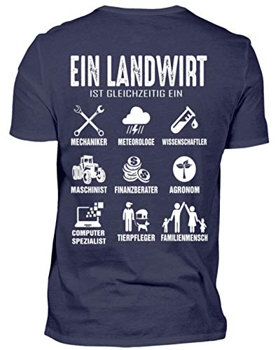 Landwirt Shirt · Trecker · Traktor · Geschenk für Bauern · Spruch: Landwirtschaft Multital - Herren Shirt -M-Dunkel-Blau - Dunkel Blau Grafik T-shirt