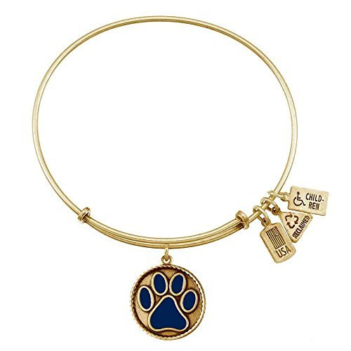 Wind and Fire Blue Paw Print Gold Tone Charm Bangle by Wind and Fire (Blue Paw Print)