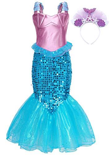 AmzBarle Vestido Disfraz de Sirena Traje para Niña, Disfraz Infantil de Princesa Brillante Larga Manga con Cola de Cosplay Fiesta Halloween Chicas (Azul con Accesorios, 7-8 años)
