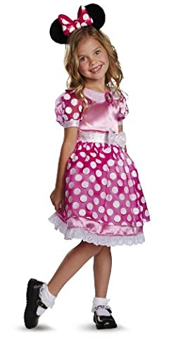 Disguise Disney's Mickey Mouse Clubhouse Pink Minnie Mouse Light-Up Motion-Activated Toddler Costume, Medium/3T-4T