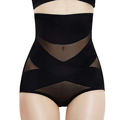 Figurformende Unterwäsche Damen Shapewear Miederslips Bauch Weg Unterhose mit Hoher Taille Pushup Höschen für Frau(S, Schwarz)