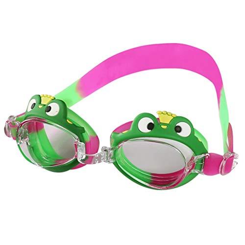 ZTMN Schwimmbrille Mädchen und Jungen Pingguang Brille Anti-Fog wasserdicht HD (Farbe: Frösche)