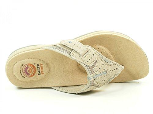 Earth Spirit 39015-16 Jackson Schuhe Damen Pantoletten Zehentrenner Beige