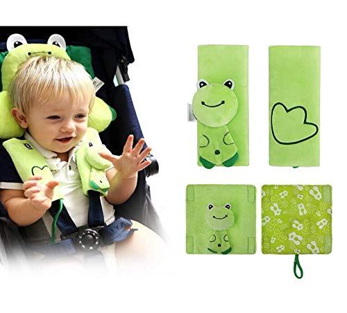 INCHANT Cartoon Animal morbida cablaggio della cintura di sicurezza Strap Covers PADD UNIVERSALE Nuovo reversibili comodi, doppi strati (Green Frog)