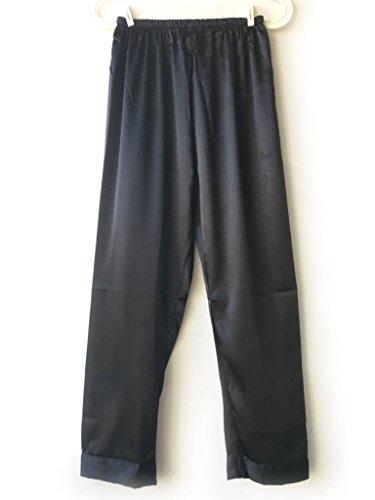 Wantschun Damen Satin Silk Schlafanzug Nachtwäsche Freizeit long Hose Damenanzug Pyjama Bottom Schlafanzughose Schwarz L (Bottoms, Schwarz Pyjama)