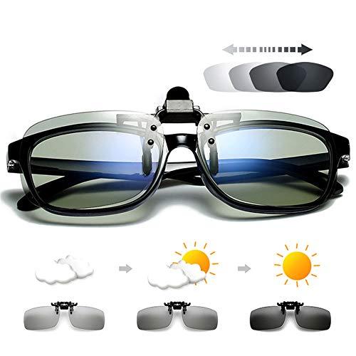 WBAHJ Polarisierte quadratische Flip-up-Clip auf Sonnenbrille Männer photochrome polarisierte Frauen Sonnenbrille für die Nacht Fahren Objektiv