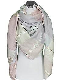 Mevina XXL Damen Schal Kariert übergroßer quadratisch Deckenschal Wolle Karo Tartan Streifen Plaid Muster Oversized Fransen Poncho