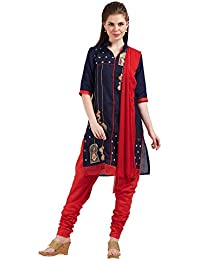Crafts N Culture Navy Blue Colored Cotton Salwar Suit.