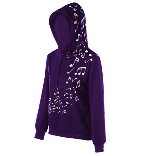 HUHU833 Sweater Femmes Hiver Casual musicale note à capuche à manches longues mode Tops Blouse Sweater Tee-Shirt Violet